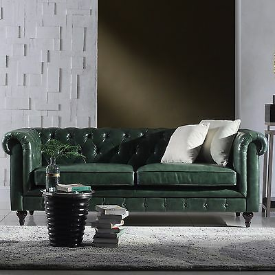 86''L Restoration Chesterfield Industrial Genuine Top Grain Green Leather Sofa