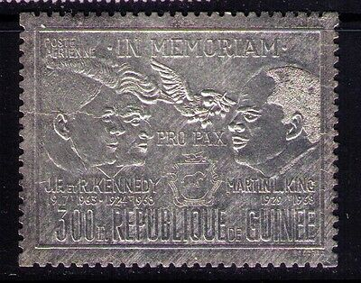 Guinea Airmail Silver Stamp Kennedy Luther King  #C114 MNH