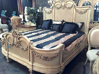 French Country Shabby Chic Carved  Mahogany Wood Parchment King Size Bed,84''H.