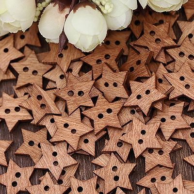 100PCS Craft Scrapbook Wooden 2 Holes Buttons Star Shape