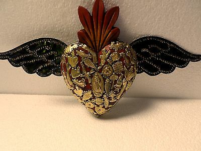 "Large 12"" Mexican Folk Art Carved Wood Heart Tin Wing Milagro Miracles Ex Votos"