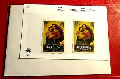 Barbuda Christmas 1969 Issue 12&25ct  2 Mint Stamps NH ST69