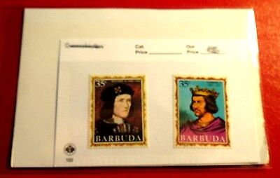Barbuda Kings & Queens of England No 10 & 18 Mint Stamps NH ST79