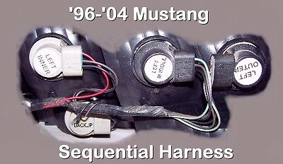 96 - 04 Mustang Sequential Tail & Brake Light Harnesses - No Splicing, Free Ship