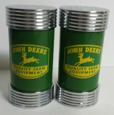 John Deere Salt and Pepper Shakers Metal Caps/Ends Diner Style - Free Shipping