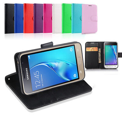 Leather Wallet Case Cover For Samsung Galaxy J3 2016 + Tempered Screen Protector