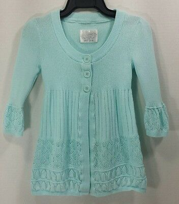 Justice Girls Sweater Size S 10 Long Sleeve Cotton Aqua Blue Button Pointelle