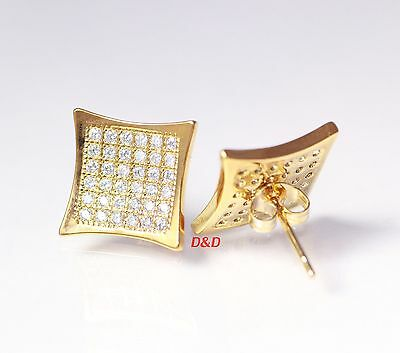 13mm Mens 18k Yellow Gold Finish  Square Cubic Zirconia Earrings Studs
