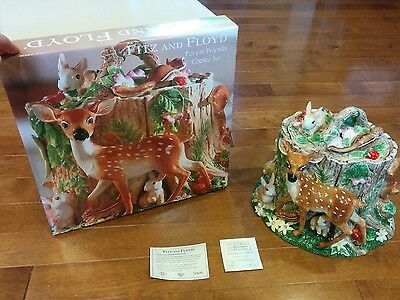 """NEW HTF Fitz and Floyd """"Forest Friends Centerpiece Cookie Jar"""" Limited Edition"""