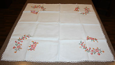 Vintage Orange Flowers Embroidered Hand Stitched Tablecloth Crochet Trim 35x33