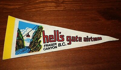 Vintage Hell's Gate Pennant Airtram Fraser Canyon BC Canada Souvenir