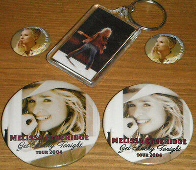 MELISSA ETHERIDGE CONCERT TOUR BUTTON 4 PIN PINS and 1 KEYCHAIN LOT !