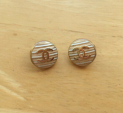 Chanel White and Beige Color Striped buttons - Listing for 2 Buttons