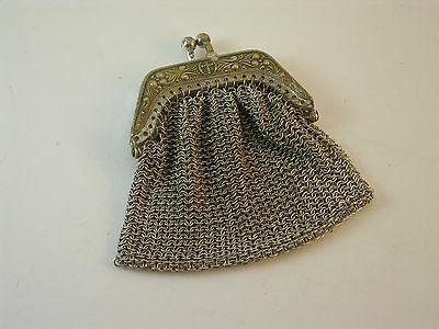 ANTIQUE VICTORIAN SILVER Chain Mail Mesh LADY Coin Purse