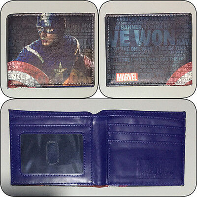 Captain America Bi-fold Wallet Boys Girls Mens Marvel Blue Cosplay Photo Slot