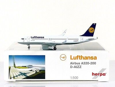 Herpa Wings Lufthansa Airbus A320 with sharklets 1:500 Reg. D-AIZZ (526326)