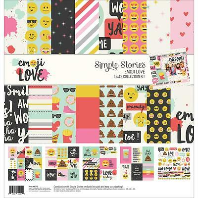 "Simple Stories Collection Kit - EMOJI LOVE - 12x12"" papers + stickers"