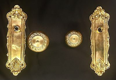 Brass Ornate Door Knob/front And Back Plates