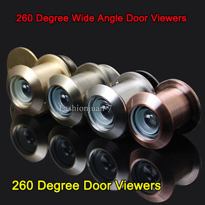 2PCS Brass Home Security 260 Degree Wide Angle Door Viewers Peephole for 35~59mm