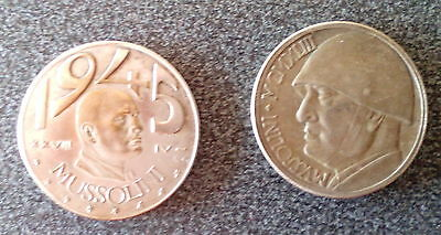 ITALY - ITALIA COUPLE OF TWO MUSSOLINI 20 LIRE 1928 and 1945