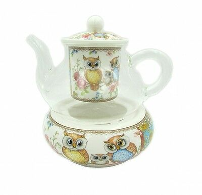New Owls 400cc Glass Teapot w.Strainer&Base Fine Bone China Birthday Xmas Gift