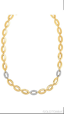 14k Yellow Gold Shiny Oval + Diamond Oval Link Necklace with Lobster Clasp