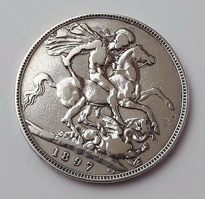 Dated 1897 LXI - Queen Victoria - Solid Silver - One Crown - Rare English Coin