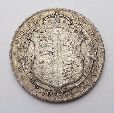 Dated : 1916 - Silver Coin - Half Crown - King George V - Great Britain UK Rare