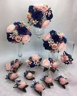 3 X Artificial silk flower L/pink roses/dark blue roses round wedding bouquets