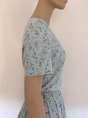 LAURA ASHLEY VINTAGE 1940s Wartime 80s SUMMER / TEA DRESS 14 Floral Blue Green
