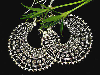 Exceptional Turkish Jewelry Antiqued Ottoman Ethnic Silver Earrings