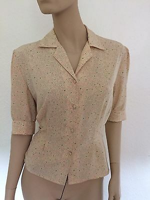 1940s Wartime Style Blouse Shirt Top Vintage Pink Floral 14 12 Dress