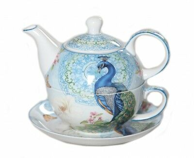 New Peacock Tea For One PeacocKTeapot w Cup in One set Fine Bone China Xmas Gift