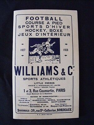 Williams & Co Little Frères Catalogue hiver 1928  Rugby Hockey Boxe  Football