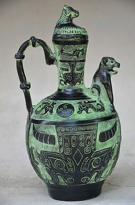 Collectible Chinese Bronze Handwork Beast Flagon