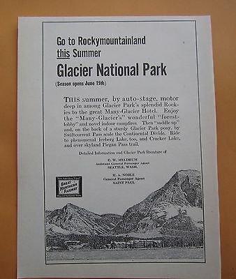 Rare 1916 Ad Great Northern Railway Company Glacier National Park