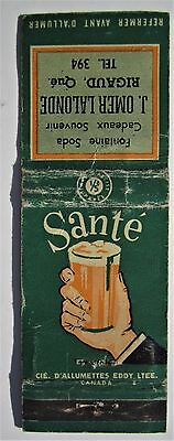Antique  Matchbook Cover J Omer Lalonde Rigaud Quebec Soda Fountain Shop