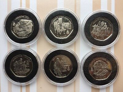 2004 Gibraltar History Of The Royal Marines Unc 50P Fifty Pence X6 Coin Set