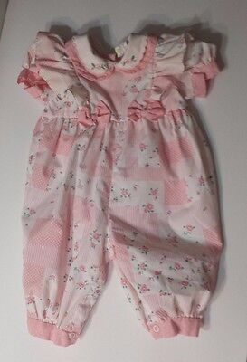 Vintage Baby Girl One Piece Size 3-6 Months Pink Striped Ruffled Bows