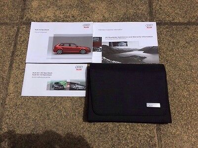 GENUINE AUDI A3 SPORTBACK OWNERS MANUAL HANDBOOK And Wallet 2009 EDITION
