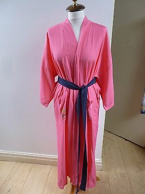 Oriental vintage  light weight viscose embroidered  pink kimono gown/robe  S/M