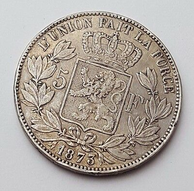 Belgium Leopold II - 1873 - Five 5 Franc - Large Crown Size - Rare Silver Coin
