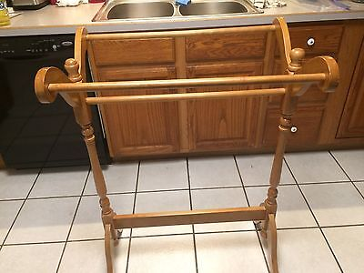 """Vintage Wood Quilt Rack, Heavy Duty Holds  3 Quilts 39"""" X  27"""" X 19"""" Deep"""