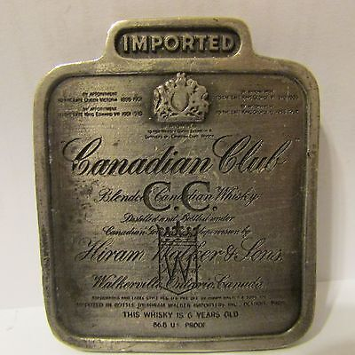 Liquor Advertising Canadian Club Belt Buckle Bergamot Brass Works 1975 VTG