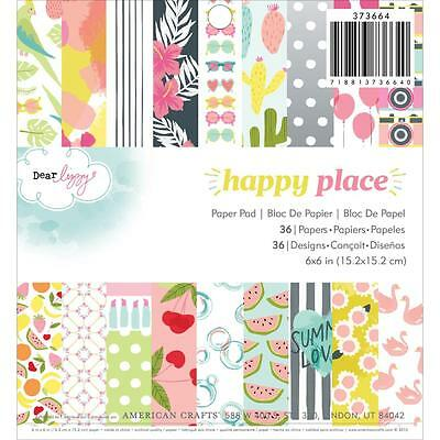 "American Crafts Dear Lizzy Happy Place 6""x6"" Paper Pad 373664 36 Sheets"