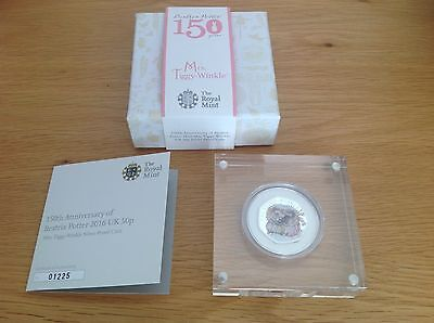 Beatrix Potter Mrs Tiggywinkle Silver Proof 50p Coin COLOURED LIMITED ISSUE