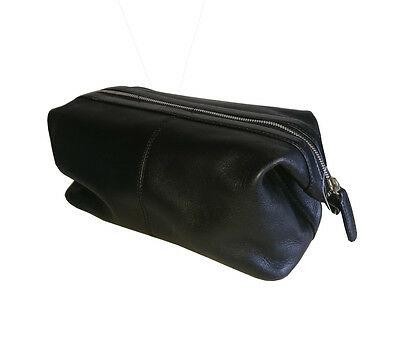 100% Leather Travel Wash Toiletry Bag - Black