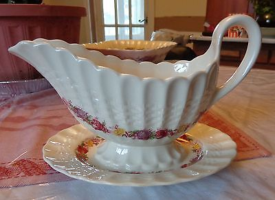 Copeland Spode Rose Briar Gravy Boat with Attached Flat
