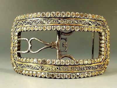 FRENCH SILVER ROSE GOLD RHINESTONE SET SHOE BUCKLE – c.1770