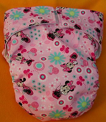 Adult New AIO Reusable Super Absorbent Cloth Diaper S,M,L,XL Minnie Mouse Pink